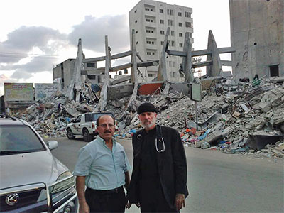 Pastor Hanna Massad and Pastor Bill Devlin on the first day of our visit to Gaza!